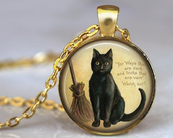 BLACK CAT Quote Necklace Pendant Cat Lovers Necklace Cat with broom witch Jewerly Vintage Black kitten jewerly black cat pendant