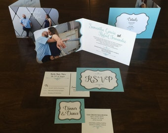 5x7 Classic Teal Blue and White Folding Die Cut Wedding Invitation Announcement with RSVP & Insert