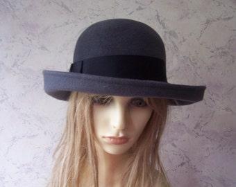Bermona Fab Grey Rabbit Fur felt Authentic Vintage Hat