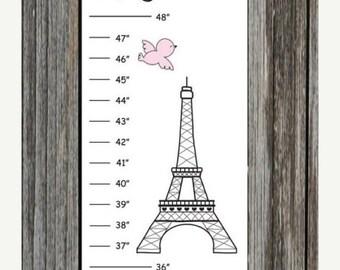 ON SALE Personalized Paris Poodle Canvas Growth Chart