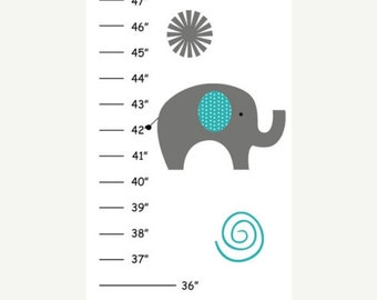 ON SALE Personalized Teal and Gray Elephants Canvas Growth Chart