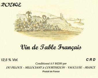 French Wine Labels - 6 Vintage Unused Colored Wine Labels - Vin de Table Français - Art Paper Supplies - Kitchen Decor - Scrapbook