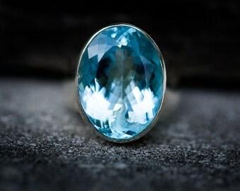 Blue Topaz Ring - Size 9 Blue Topaz Ring - Blue Topaz Jewelry - December Birthstone - Baby Swiss Blue Topaz Blue Topaz Ring - Blue Jewelry