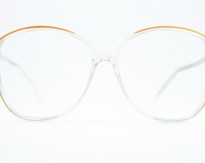 Vintage 1980s Glasses | Clear Oversized Round Eyeglass Frame | 80s NOS Eyeglasses - Sierra