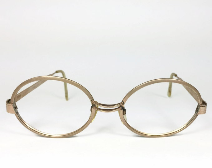 Vintage 1960s Eyeglasses | Etched Gold Round Glasses | NOS Deadstock Eyeglass Frame - Team