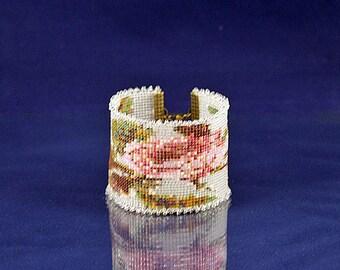 Handbeaded Rose Cuff Bracelet