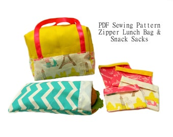 Perfect Lunch Bag PDF Sewing Pattern -Plus Bonus Pattern for Waste Free Fold Over Snack Sacks - 4 Sizes Reusable Snack Bags