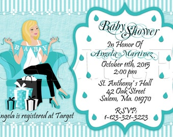 Baby Shower Invitation, Announcements, Mom To Be, Aqua, Black and White, Personalized Invite, DIY Printables, Digital Invite