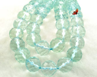 64 faces Aqua quartz glass faceted round beads in 10mm ,37 pcs