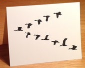 Birds in V formation linocut block print card