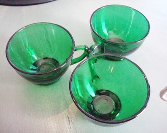 Vintage Green Glass Tea Cups - Set of (3) - Excellent Condition!!