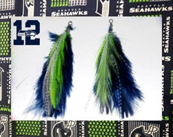 NFL Seahawks colored feather Earrings