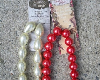 Glass Beads. Pearl and Red