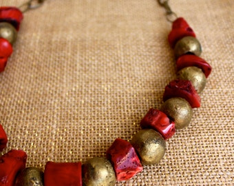 Coral and Middle Eastern Bronze Necklace