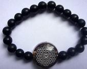Flower Of Life With Eye Of Horus Orgone Bracelet  Matte Black Stones Semi Precious Gemstone FREE UK DELIVERY