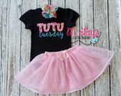 Tutu Tuesday Custom Applique Shirt- Cute for Little Girls and a Great Gift!