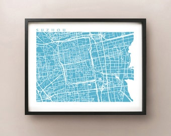Suzhou Map Print - China Poster Art - 苏州