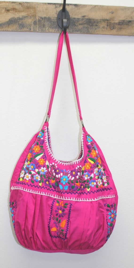 Hand embroidered boho mexican tote bag purse by