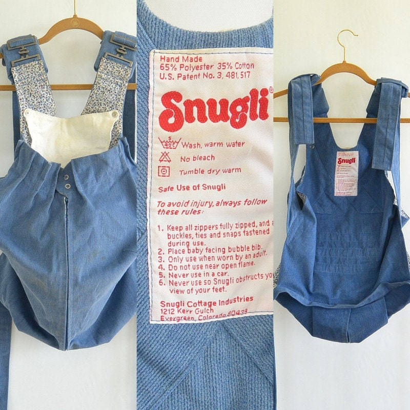 1980's Snugli Corduroy Baby Carrier Front Facing Great