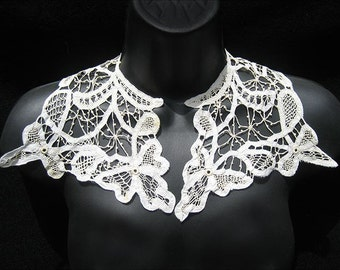 Antique Battenburg Tape Lace Collar. Cotton & Silk