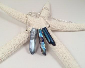 Quartz Crystal Necklace Healing Crystals Natural Crystal Metallic Blue Light Blue Pixie Dust Natural Gemstone Crystal Pendant