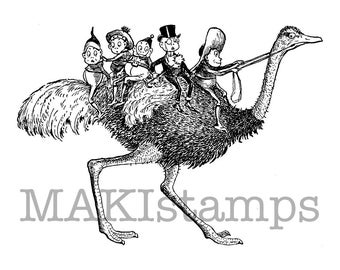 Brownies on ostrich rubber stamp / Unmounted rubber stamp  (150501)