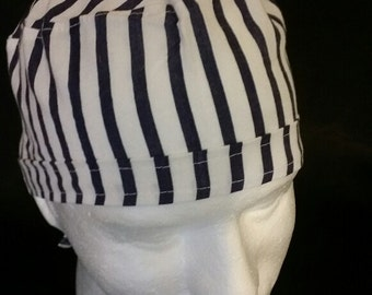Navy Blue Stripes 24601 Tie Back Surgical Scrub Hat