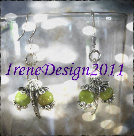 Handmade Silver Earrings with Old Green Jade & Feather by IreneDesign2011