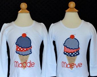 Personalized Ice Cream Cone Applique Shirt or Onesie Girl