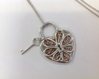 """18K and Sterling Tiffany & Co. """"Key to my Heart"""" Necklace"""