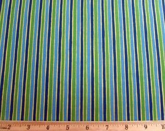 Per Yard, Light Blue, Green, Yellow and Royal Blue Stripe, Run Run Robot Fabric From VIP