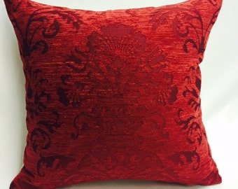 Red Damask Chenille Pillow Cover