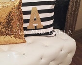 Custom Initial Black and White Striped Pillow with Gold Sparkle 18 x 18 with insert