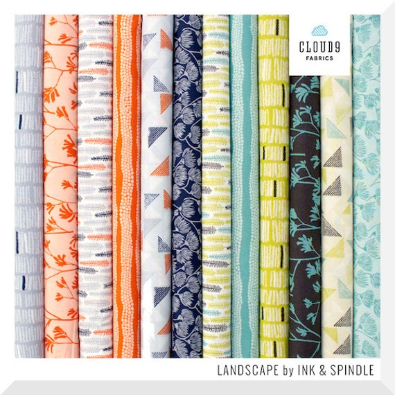 LANDSCAPE by Ink and Spindle - 12PCE Fat Quarter Bundle - Organic Cotton Fabric