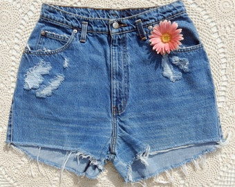Vintage Hand Distressed High Waisted Jean Shorts