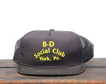 Vintage B-D Social Club York Pennsylvania Trucker Hat Snapback Baseball Cap