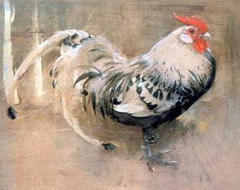 """The Rooster, by Crawhill. 8 x 10"""" canvas art print.  Hens, chickens farm animals"""