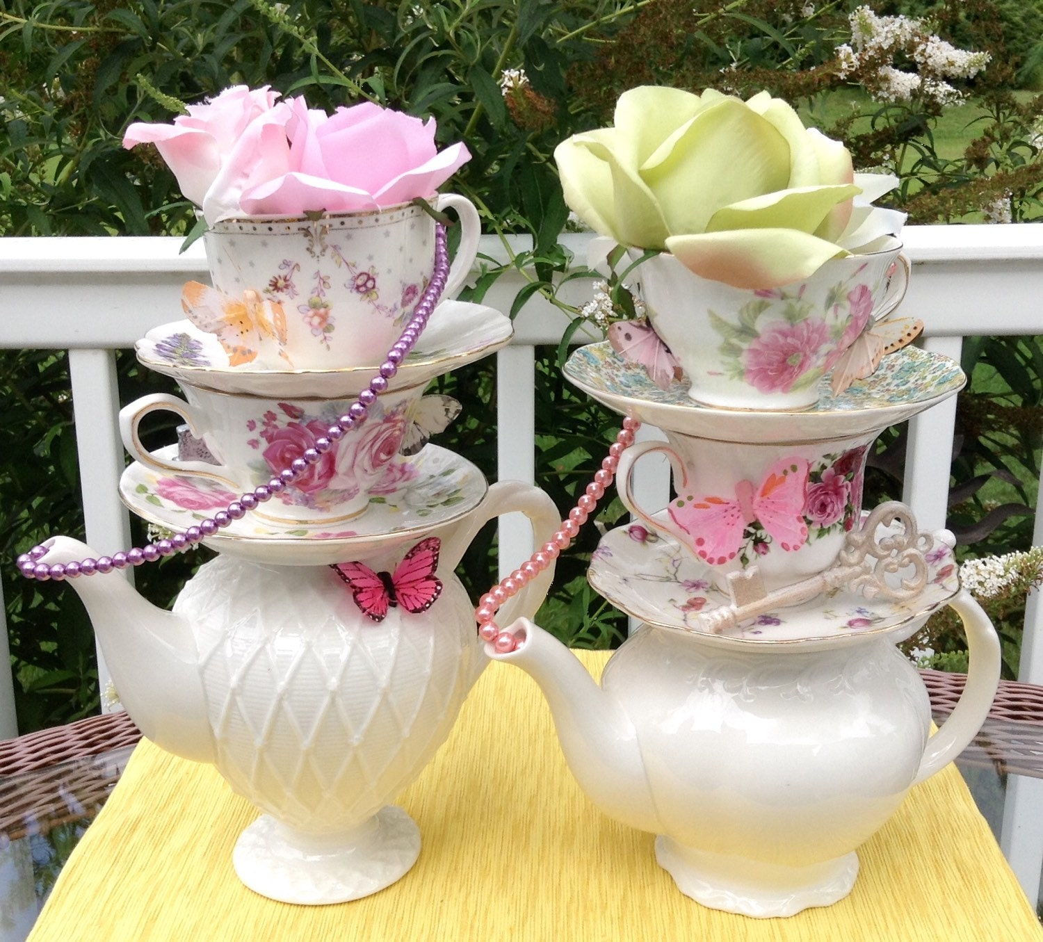 Pair of two stacked teapot teacup centerpieces pearls etsy