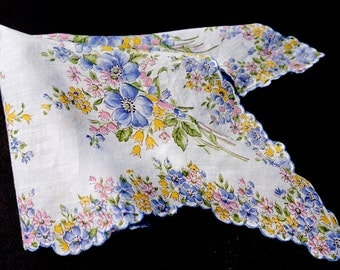 Vintage Floral Print Hanky, White Handkerchief with Blue and Pink Flowers and Scalloped Edge, Flower Girl Wedding Favor,Something Blue