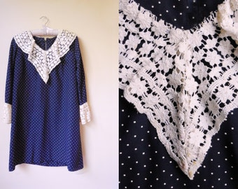 vintage navy dress with polka dots and lace