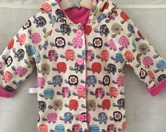 Girls fully lined Coat, Girls Winter Coat,  Unique Tortoise Print, Girls Fully Lined  Coat, Fleece Lined Coats,Girls Tortoise Coat