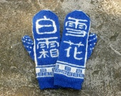 Chinese Calligraphy Wool Mittens in Cobalt Blue and White - Stranded Mittens - Unique Mittens