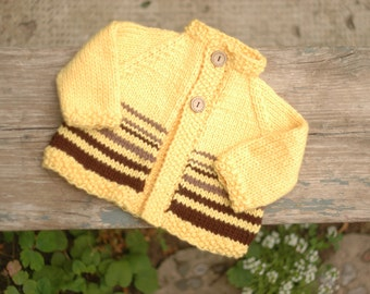 Baby Cardigan in Soft Machine Washable Merino Wool, Butter Yellow with Brown Stripes, 6 to 9 Months