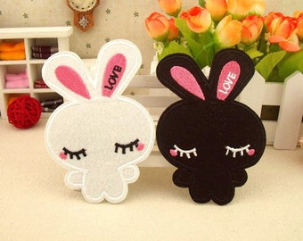Bunny Patch White Rabbit and Black Rabbit Embroidered Patches Iron on-Patch CB1