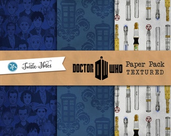 Textured Dr. Who Paper Pack : 11 Printable Digital Scrapbook Paper with a Paper Texture