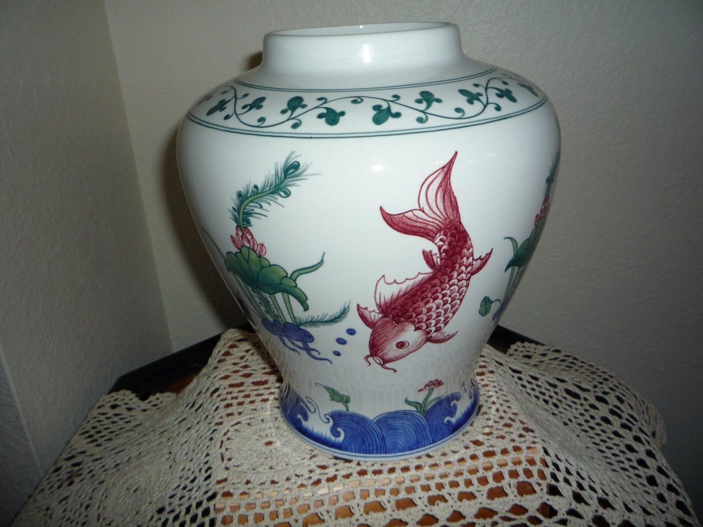 Oriental koi fish vase for Koi fish vase
