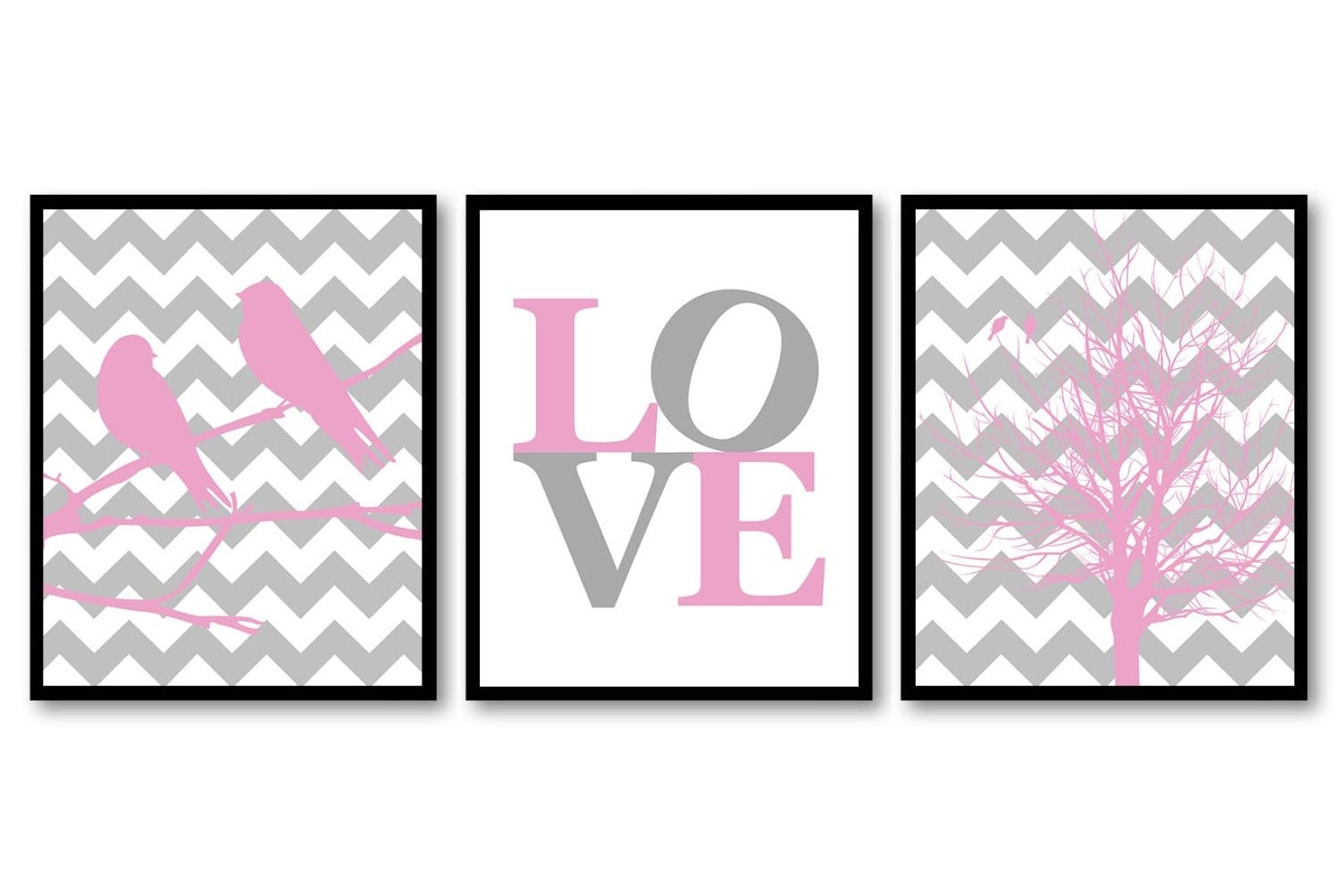 Bird Nursery Art Tree Branch Prints Set of 3 LOVE Pink Grey Gray Chevron Baby Wall Decor Tree Nurser