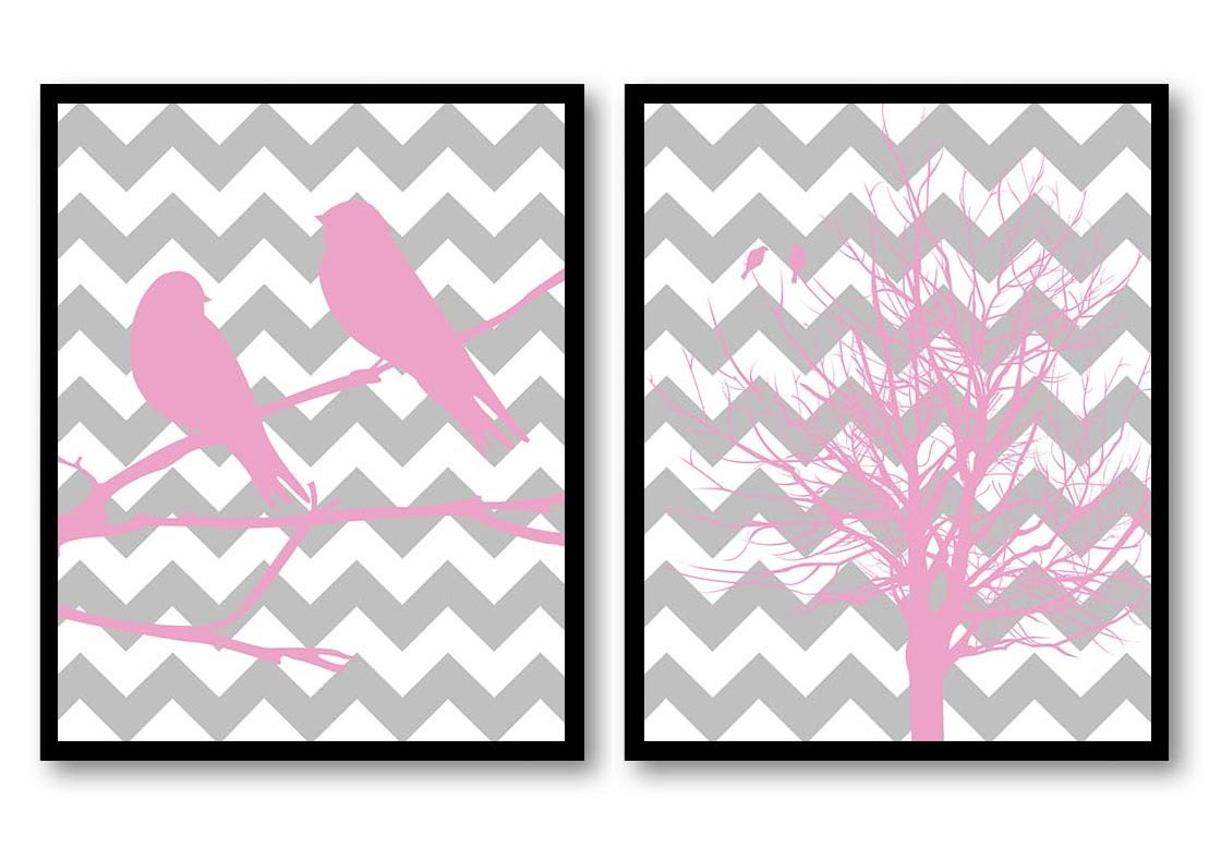 Bird Nursery Art Tree Branch Prints Set of 2 Pink Grey Gray Chevron Baby Wall Decor Sparrow