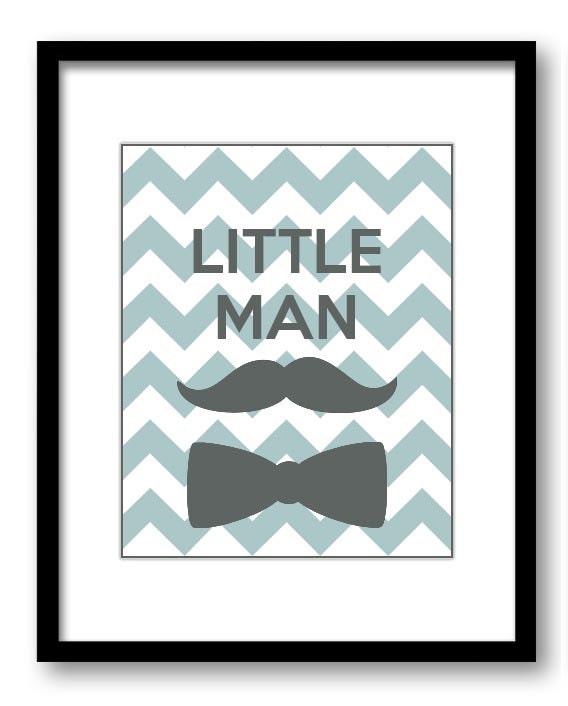 Grey Blue Little Man Nursery Art Nursery Print Mustache Bowtie Child Baby Art Print Boys Kids Room W