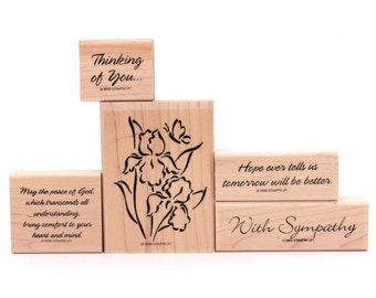 Peace & Comfort Sympathy Rubber Stamp Set Stampin' Up, Iris Stamp, Sympathy Card, Stamp Comfort Heart Mind, Thinking of You, Death Loved One